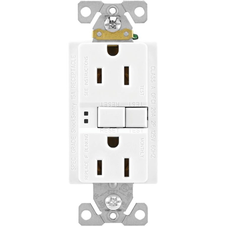 15 Amp White Self Test GFI Receptacle with Plate