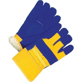 Men's Large Split Leather Combo Lined Work Gloves, Assorted Colours
