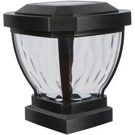 """4"""" x 4"""" Black Solar Fence Post Cap, with Water Glass Lens"""